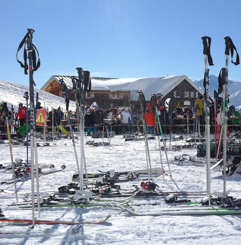 Mountain refuge with skiing equipment